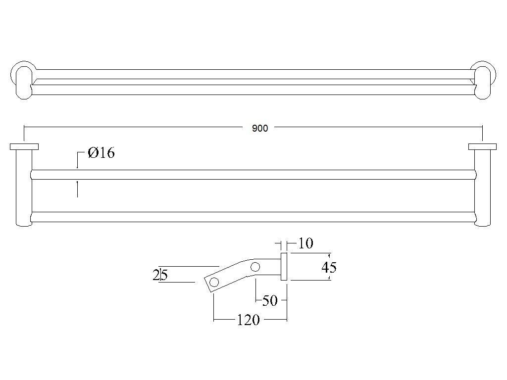 Alder Tapware ALTO DOUBLE TOWEL RAIL Chrome *Australian Brand 750mm Or 900mm